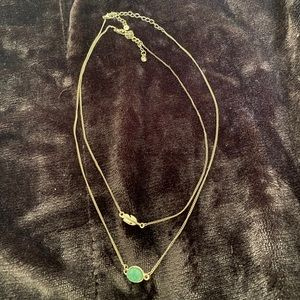 Beautiful feather and green stone layer necklaces